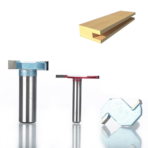 1pcs 1/2  Shank T type slotting cutter Industrial Grade 2 Flute router bits for wood woodworking tool milling cutter