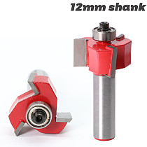 1pc 12mm Shank T type bearings wood Three blade milling cutter Industrial Grade Rabbeting Bit woodworking tool router bits for w
