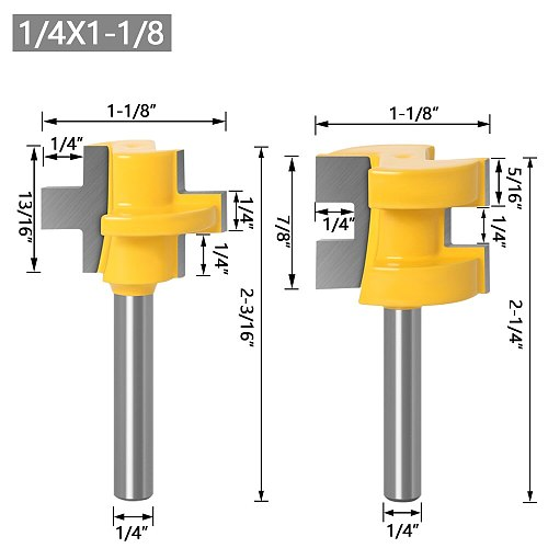 2pc Mini Tongue & Groove Router Bit Set - 1/4  6mm 8mm Shank Line knife Woodworking cutter Tenon Cutter for Woodworking Tools