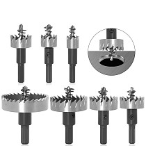 7Sizes HSS Drill Bit High Speed Steel Carbide Tip Hole Saw Tooth Cutter Metal Drilling Woodwork Cutting Carpentry Crowns