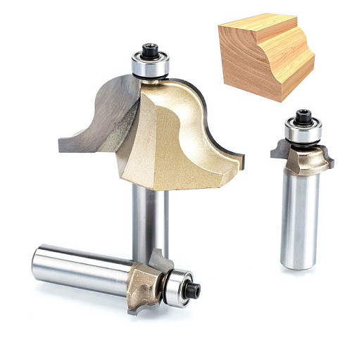 1pc 1/2  Shank roman ogee bit Double Edging Router Bits Milling Cutter for wood end mill carbide Woodworking Tools endmill