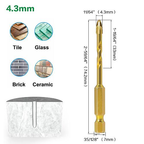 5pcs 7mm Hex Shank Twist Glass Bits Titanium Ceramic Drilling Drill Set 4 6 8 10 12mm Tile Concrete Cross Tip Hole Bit Tile