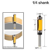 Flush Trim Top & Bottom Bearing Router Bit - 1/4  Shank