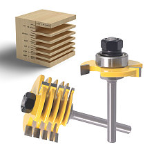 2Pc 6 Piece Slot Cutter 3 Wing Router Bit Set Woodworking Chisel Cutter Tool- 8 & 11/4  Shank 6mm shank Tenon Cutter for Woodwor