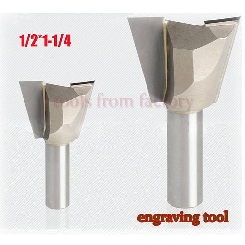 1pc 1/2*1-1/4 Woodworking cutter Dovetail milling cutter CNC engraving tool gong cutter 1/2 Shank