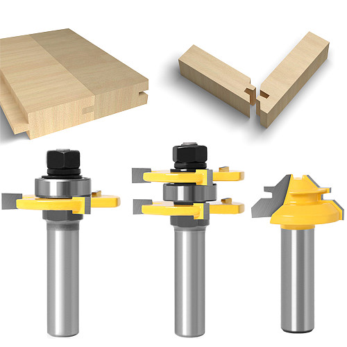 3 pc 12mm 1/2 Shank high quality Tongue & Groove Joint Assembly Router Bit 1Pc 45 Degree Lock Miter Route Set Stock Wood Cutting
