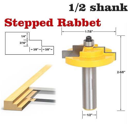 1PC 1/2  12mm Shank Picture Frame Stepped Rabbet Molding Router Bit C3 Carbide Tipped Wood Cutting Tool woodworking router bits