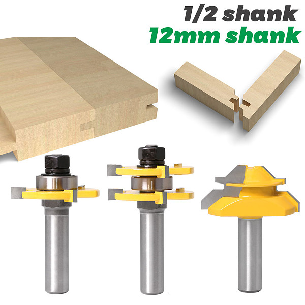 Tongue and Groove Router Bit Tool Set ½'' Shank With 45° Lock Miter Bit ½'' 12mm Shank - Solid Steel, Anti Kickback Design