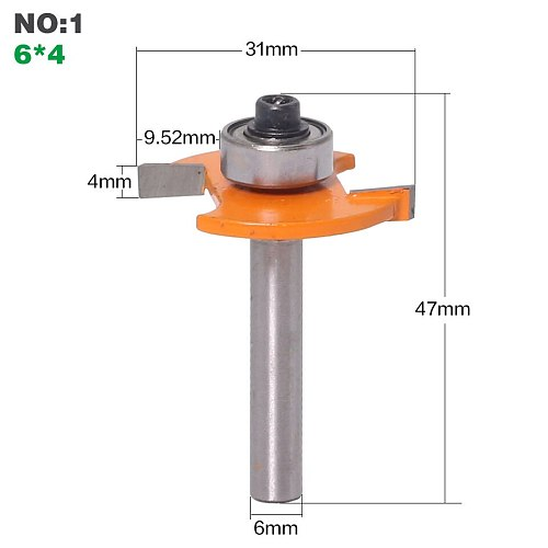 1pc 6mm Shank High Quality  T  Type Biscuit Joint Slot Cutter Jointing/Slotting Router Bit 3mm,4mmHeight Cutter wood working