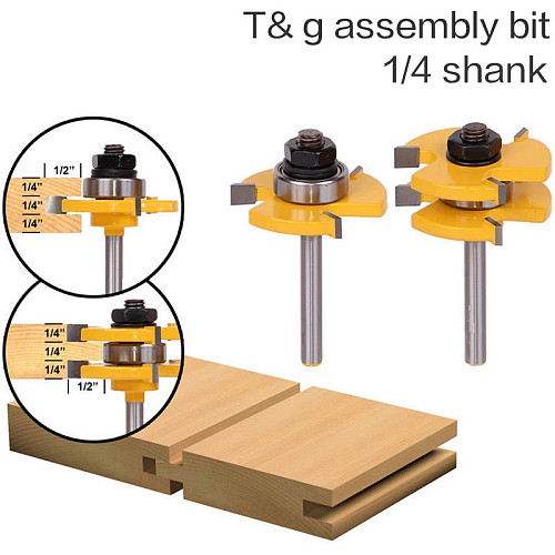 2 pc6.35mm Shank high quality Tongue & Groove Joint Assembly Router Bit Set 3/4  Stock Wood Cutting Tool - RCT15215