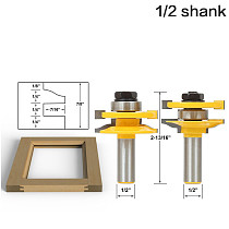 Ogee Rail & Stile Matched Set w/ 2 3/8  dia. Carbide Tipped Cutters, 1  bearing - 1/2  12mm Shank door knife Woodworking cutter