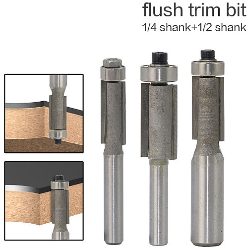 1pcs 1/4  1/2  Shank Flush Trim Router Bits for wood Trimming Cutters with bearing woodworking tool endmill milling cutter