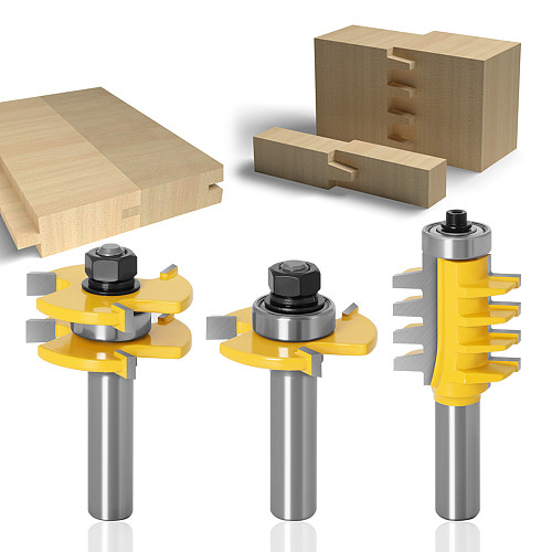 3pcs 12mm 1/2inch Shank Joint Assemble Router Bits Tongue & Groove T-Slot Milling Cutter for Wood Woodwork Cutting Tools