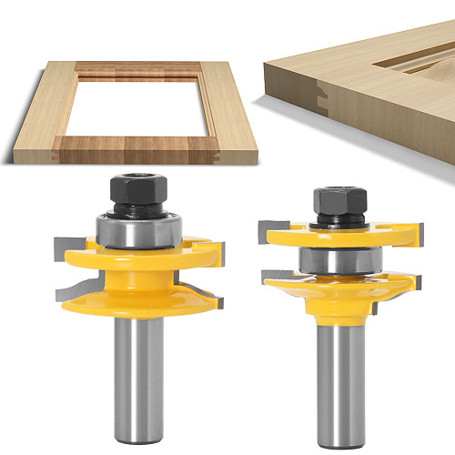 JGZUI 2pcs 12mm 1/2  Shank Shaker Rail & Stile Router Bits Set Carbide Door Knife Woodworking Tenon Cutter Tools For Wood