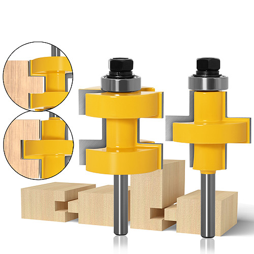 2pc 8mm 12mm Shank high quality Large Tongue & Groove Joint Assembly Router Bit Set 42mm Stock Wood Cutting Tool