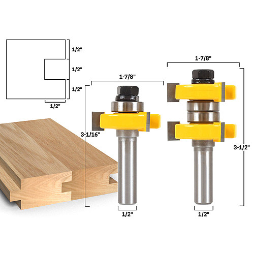 1-1/2  2 Bit Tongue and Groove Router Bit Set - Joint Assembly Router Bit Set 1-1/2  Stock Wood Cutting Tool-RCT15210