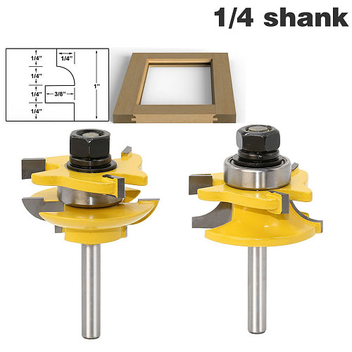 2 Bit Rail and Stile Router Bit Set - 1/4  Shank door knife Woodworking cutter Tenon Cutter for Woodworking Tools