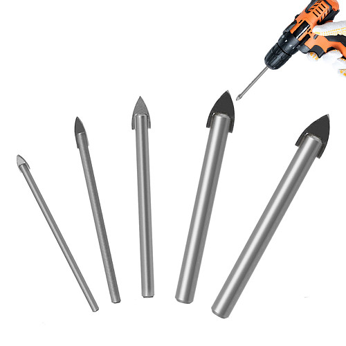 5pcs Glass Bits Round Shank Glass Drill Bit Set 3 4 6 8 10mm Wall Tile Ceramic Marble Hole Glass Hole Saws