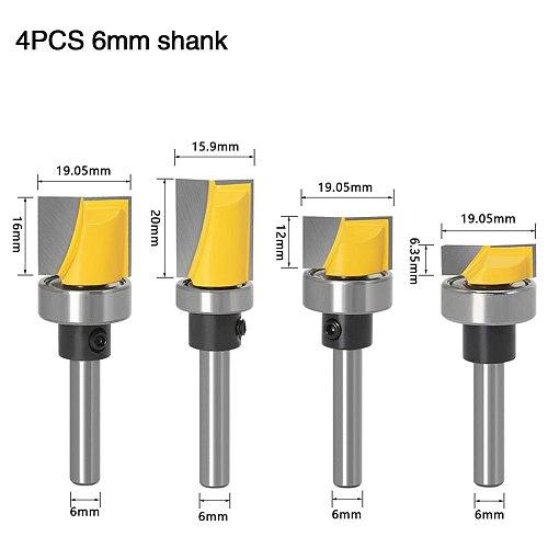 4pcs Trim Router Bit Set - 1/4  6mm Shank - 5 Bit Pattern/Template Woodworking cutter Tenon Cutter for Woodworking Tools