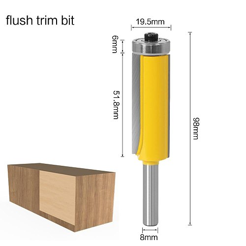 1pc 8mm Flush Trim Pattern Router Bit Top & Bottom Bearing Bits Milling Cutter For Wood Woodworking Cutters