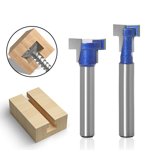 1pc 6mm 1/4inch Shank T-Slot Cutter Router Bit Set Key Hole Bits Hex Bolt T Slotting Milling Cutter for Wood Woodworking Tool