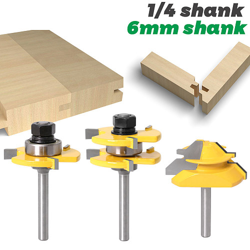 Tongue and Groove Router Bit Tool Set 1/4'' Shank With 45° Lock Miter Bit 1/4'' 6mm Shank - Solid Steel, Anti Kickback Design