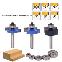 3pcs Rabbet Router Bit with 6 Bearings Set -1/2 H - 1/4  Shank Woodworking cutter Tenon Cutter for Woodworking Tools