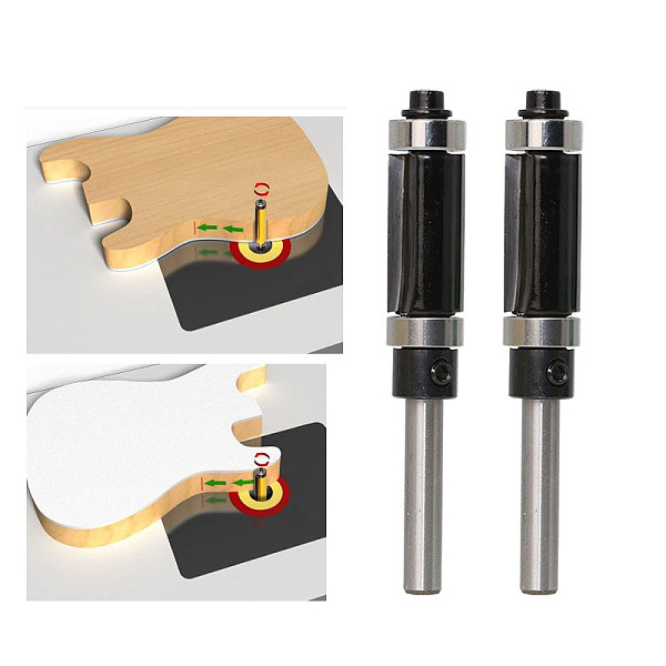 Flush Trim Top & Bottom Bearing Router Bit - 1/4  Shank - Woodworking cutter Tenon Cutter for Woodworking Tools