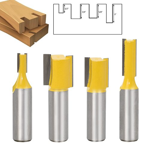4pcs 1/2 Shank Extra long 20  Blade 1/2  Cutting Dia. Straight Router Bit Woodworking cutter Tenon Cutter for Woodworking
