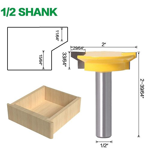 JGZUI Drawer Front Joint Router Bit - Reversible - 1/2  Shank 12mm Shank Woodworking Chisel Cutter