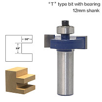 1pcs/set High Quality  T  Type Bit With Bearing 12mm shank Dovetail Router Bit Cutter wood working
