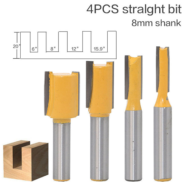 1 pc Straight/Dado Router Bit - 3/8 W x 1 H - 8  Shank Woodworking cutter Wood Cutting Tool
