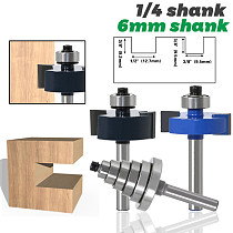 Rabbet Router Bit with 6 Bearings Set - 1/4  Shank 6mm shank Woodworking cutter Tenon Cutter for Woodworking Tools