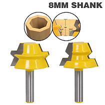 2PC 8mm Shank Lock Miter Router - 22.5 Degree Glue Joinery Router Bit Set Tenon Cutter for Woodworking Tools