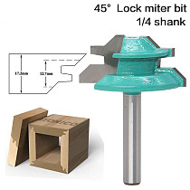 1pc Large Lock Miter Router Bit - 45 Degree - 1-3/8  Stock - 1/4  Shank Tenon Cutter for Woodworking Tools