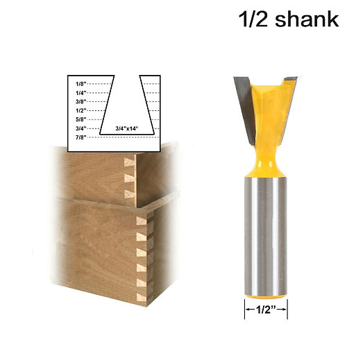 1pc Dovetail Router Bit - 3/4  x 14 Degree - 1/2  Shank Woodworking cutter Tenon Cutter for Woodworking Tools-RCT