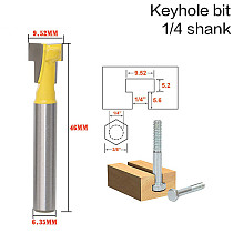 2Pcs 1/4'' Shank T-Slot Cutter Router Bit Steel Handle 3/8'' & 1/2'' Length Woodworking Cutters For Power Tools