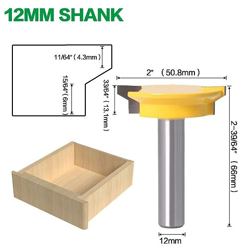 Drawer Front Joint Router Bit - Reversible - 1/2  Shank 12mm Shank Woodworking Chisel Cutter