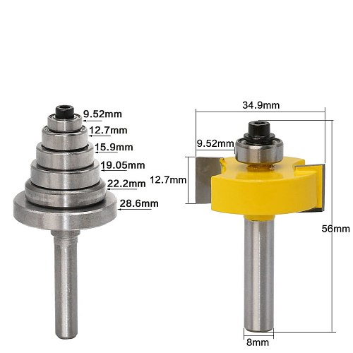 Rabbet Router Bit with 6 Bearings Set -1/2 H - 8  Shank Woodworking cutter Tenon Cutter for Woodworking Tools