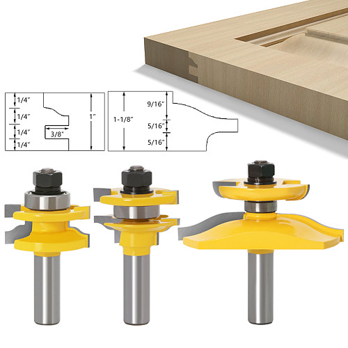 3pcs 12mm Shank Rail & Stile Ogee Blade Cutter Panel Raised Cabinet Router Bit Set Door Tenon Woodworking Tools