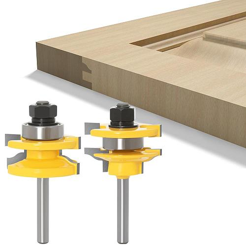 6mm 1/4inch Shank 3pcs Big Cabinet Rail & Stile Tenon Router Bit Set Door Cabinet Panel Raiser Ogee Wood Milling Cutter