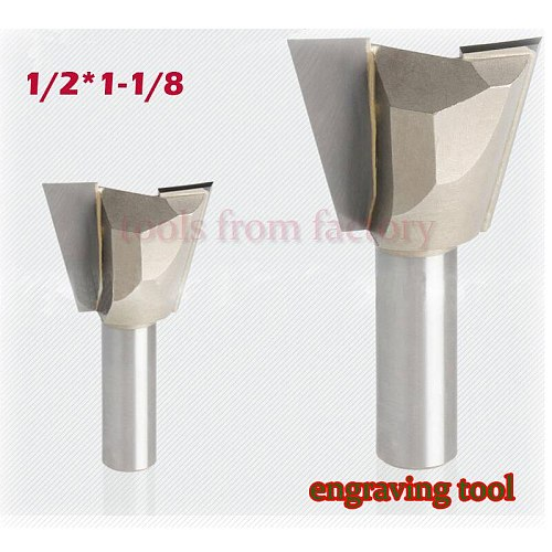 1pc 1/2*1-1/8 Woodworking cutter Dovetail milling cutter CNC engraving tool gong cutter 1/2 Shank