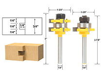 2 Bit Tongue and Groove Router Bit Set - 1/4  Shank - Shaker Woodworking Chisel Cutter Tool-RCT  15212