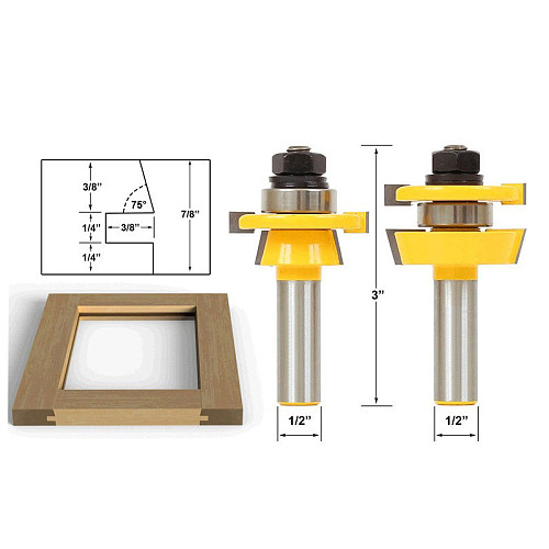 Rail & Stile Router Bit Set - Shaker 2 Pc 1/2  Shank 12mm shank door knife Woodworking cutter Tenon Cutter for Woodworking Tools