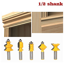5PCS/SET DIY Bookshelf Molding & Edge Banding Woodworking Tools Router Bit Table Edge Bit CNC Door Knife Wood Processing