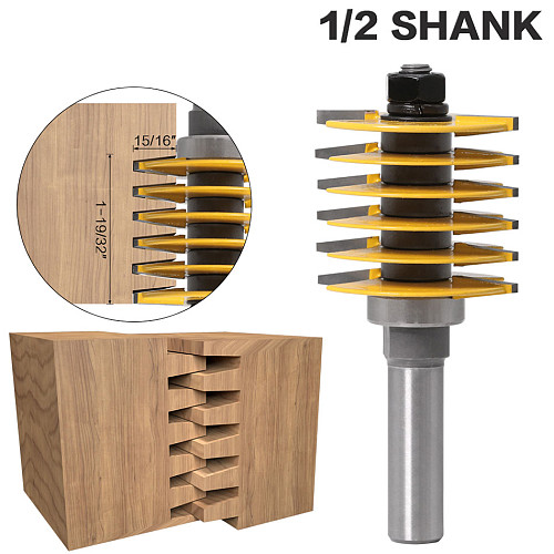 1pc 1/2 Shank Brand New 2 Teeth Adjustable Finger Joint Router Bit Tenon Cutter Industrial Grade for Wood Tool