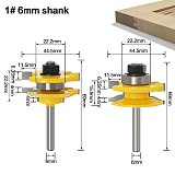 2pcs 6mm 1/4 Shank 6.35mm Stile & Rail Assembles-Bead Bit Round Over Door Knife Woodworking Tenon Cutter for Wood Tool