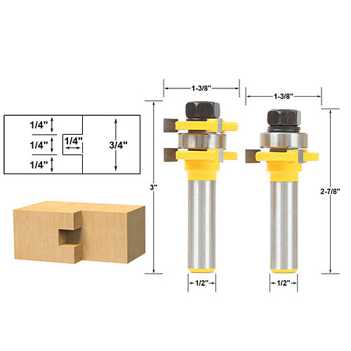 Tongue and Groove Router Bit Set 1/4  x 1/4  - 1/2  Shank Shaker Woodworking Chisel Cutter Tool RCT 15213
