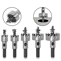5 Sizes HSS Drill Bit High Speed Steel Carbide Tip Hole Saw Tooth Cutter Metal Drilling Woodwork Cutting Carpentry Crowns