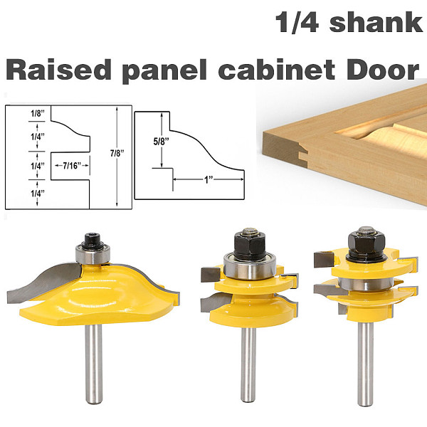 3PC1/4 Shank high quality Raised Panel Cabinet Door Router Bit Set - 3 Bit Ogee Woodworking cutter woodworking router bits